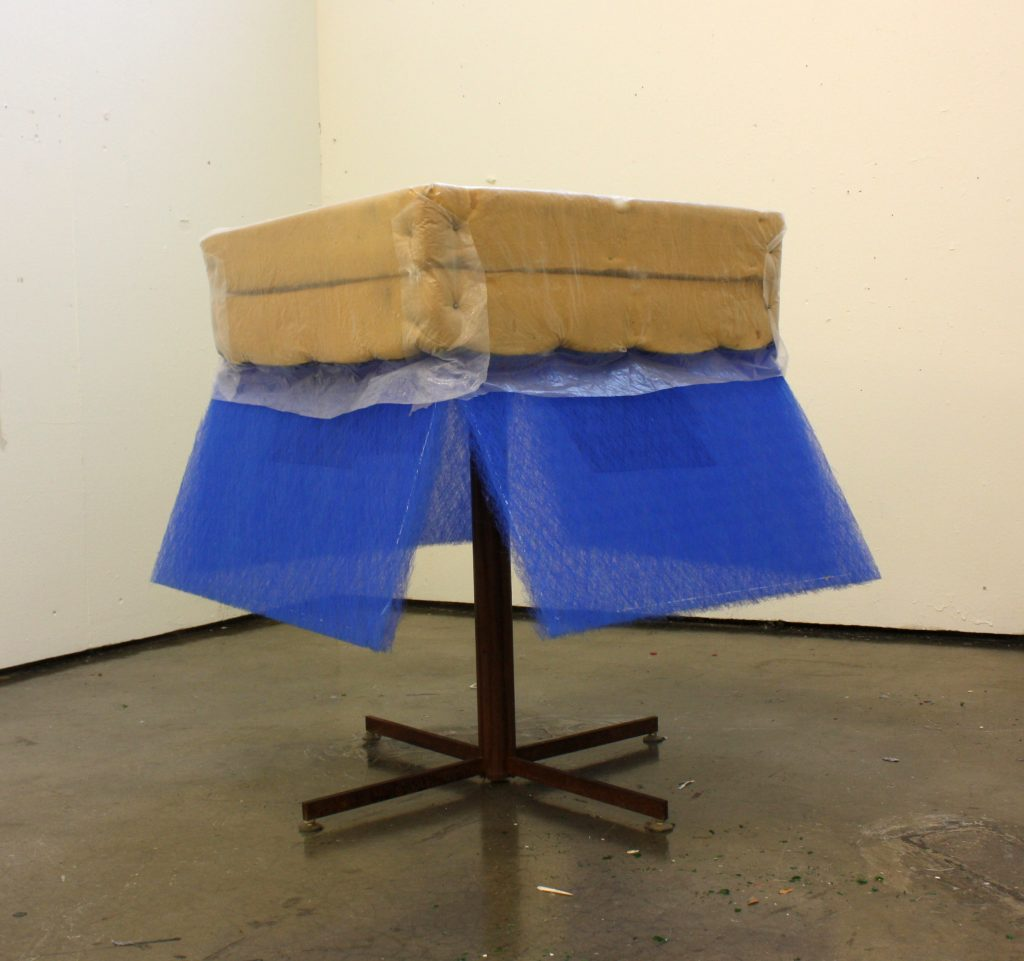 Blue Curtain Table